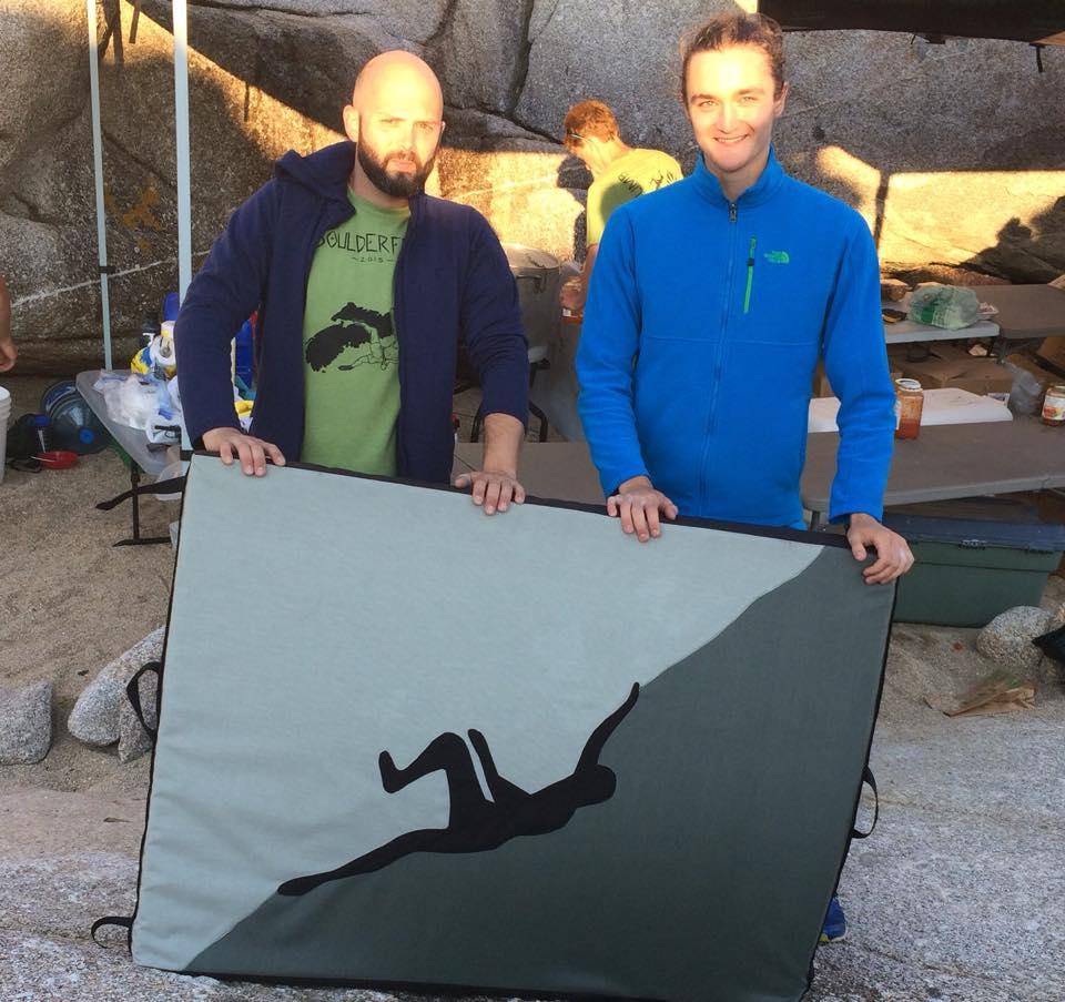 Earth Bones CEO David MacMillan hands off the Boulderfest 2015 grand prize to lucky winner Jack Bennet